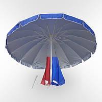 Зонт торговый садовый уличный круглый (диаметр2.4м) 10 спиц с клапаном, с напылением