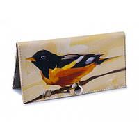 Женский кошелек -Желтая птица-. Ручная работа