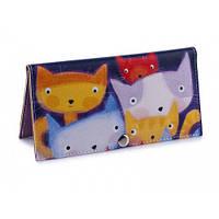 Женский кошелек -Разноцветные коты-. Ручная работа