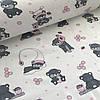 Хлопковая ткань бязь польская серые мишки спящие на облаках с розовыми сотами на белом №12