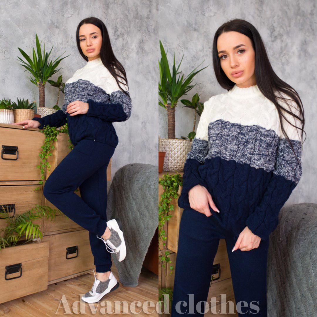 Костюм тёплый верх вязаный свитер косичка