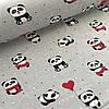 Хлопковая ткань польская панда в красном на сером №10
