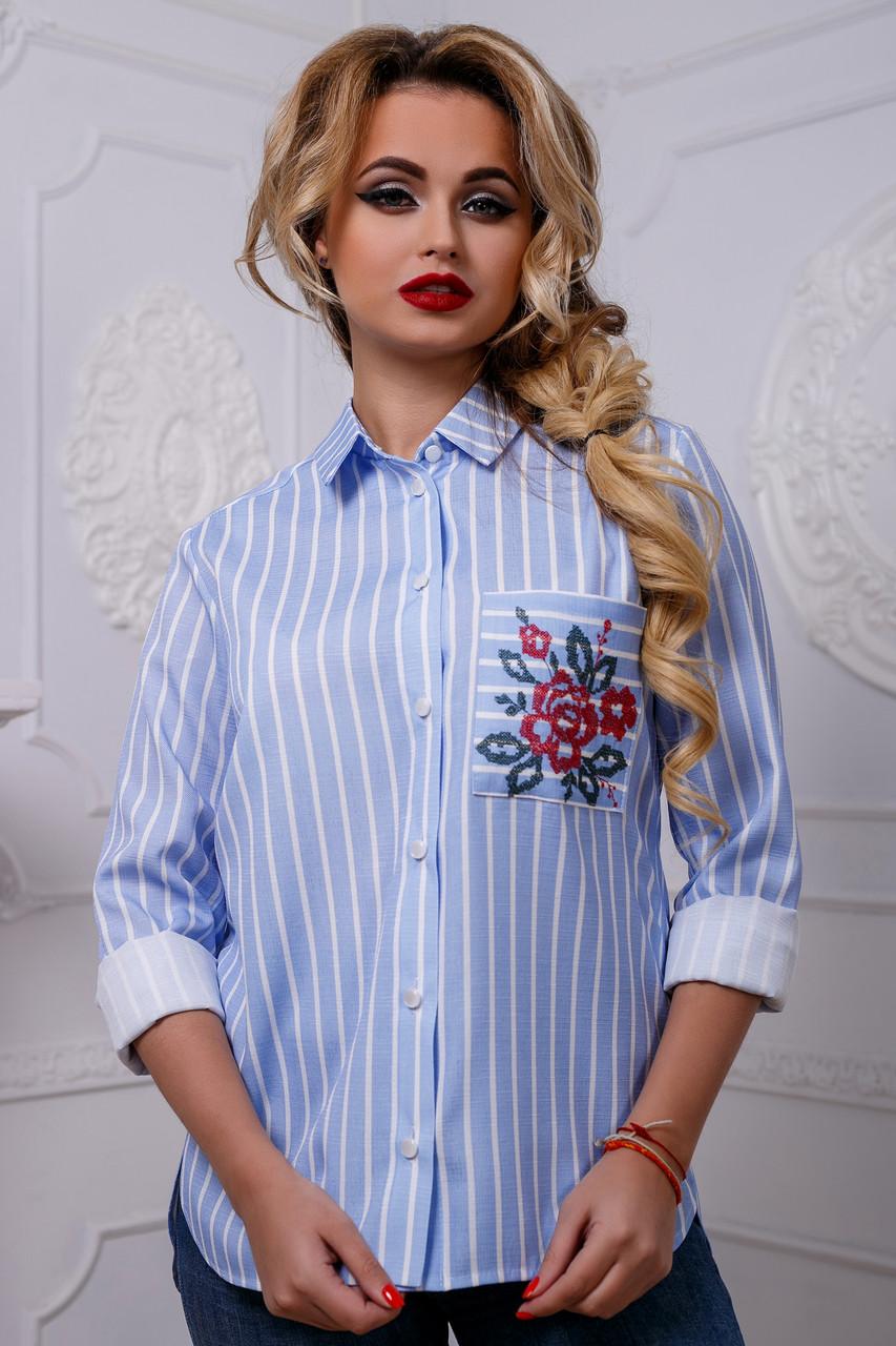 9c028171acd Хлопковая Женская Рубашка в Полоску с Вышивкой на Кармане Голубая S-2XL -  Ukraine In