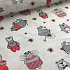 Хлопковая ткань польская серые мишки в красном и красные пчелки на сером №9