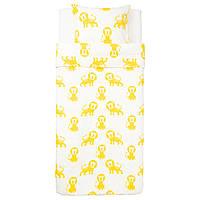 """ИКЕА """"ДЖАНГЛСКОГ"""" Комплект постельного белья, лев, желтый, 150x200/50x60 см."""