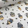 Хлопковая ткань польская серые мишки в желтом и желтые пчелки на белом №7