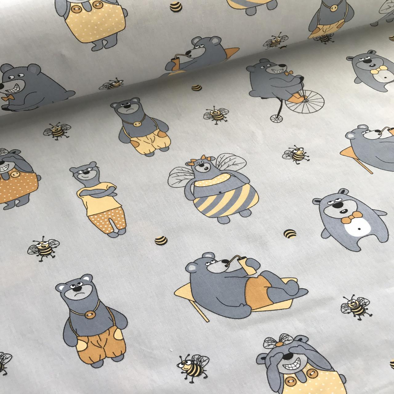 Хлопковая ткань польская серые мишки в желтом и желтые пчелки на сером №6
