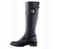 """Сапоги кожаные """"Модная практичность"""" 39 Черный"""