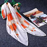 Стильный легкий женский шарф платок с принтом белого с оранжевым цвета