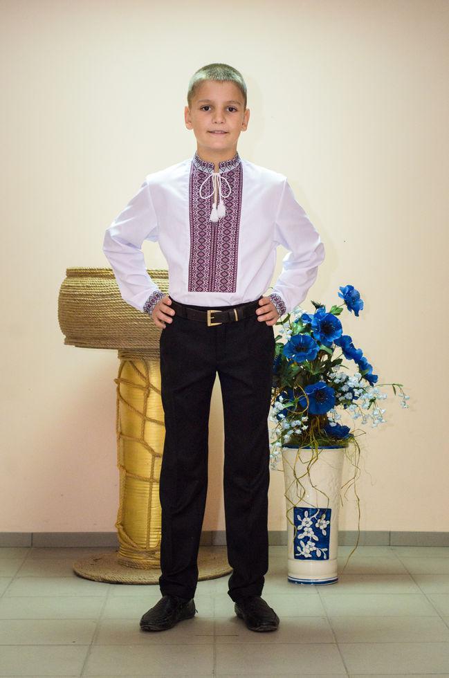 Вышиванка детская Волинські візерунки  тканая фиолетовая 140 см белая