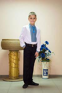 Вышиванка детская  Волинські візерунки тканая голубая 116 см белая