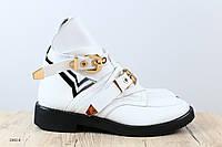 Женские ботинки, кожаные, белые, на ремнях,  36-40 р