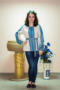 Вышиванка женская Волинські візерунки  тканая голубая на длинный рукав 42р. бежевая