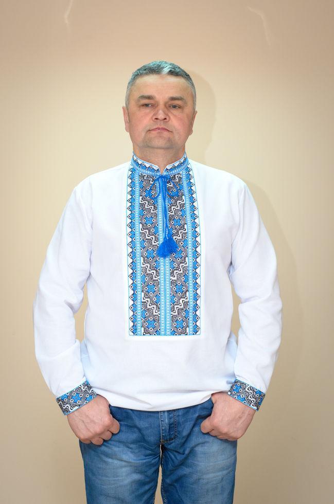 Вышиванка мужская Волинські візерунки на длинный рукав Волынская 52 р. белая