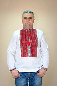 Вишиванка чоловіча Волинські волинські Тіффані червона ткана 54 р. біла
