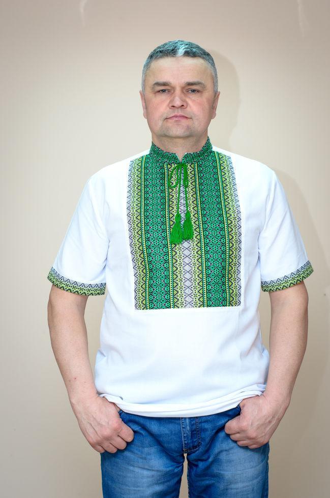 Вишиванка чоловіча Волинські візерунки ткана з коротким рукавом Тіффані зелена 50 р. біла