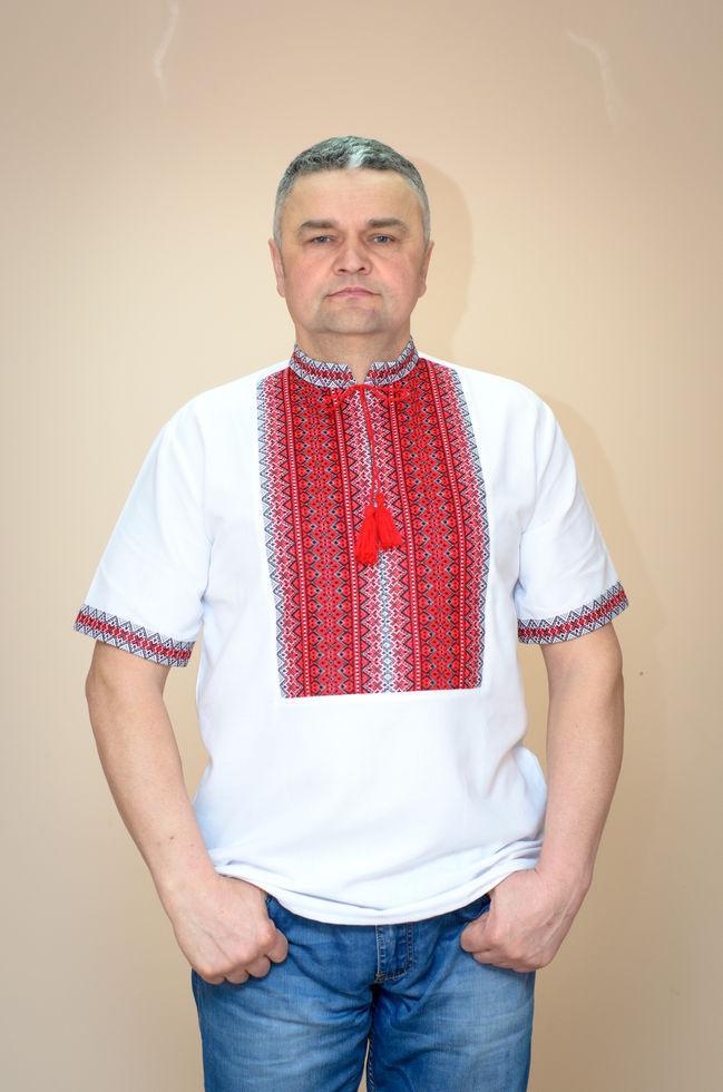 Вишиванка чоловіча Волинські візерунки ткана з коротким рукавом Тіффані червона 50 р. біла