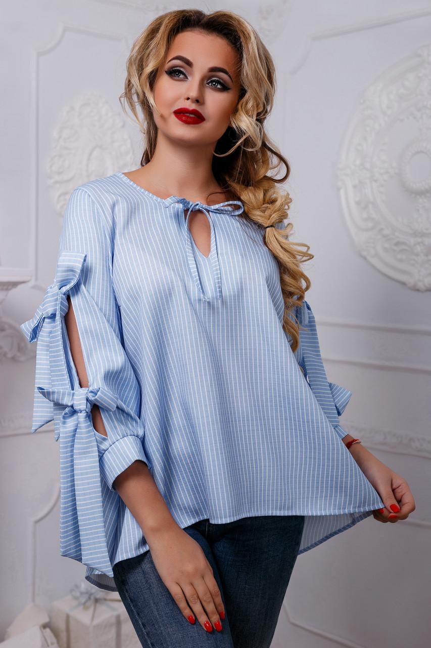 5b5608ad308 Восхитительная Нарядная Рубашка из Льна с Бантами Голубая S-XL ...