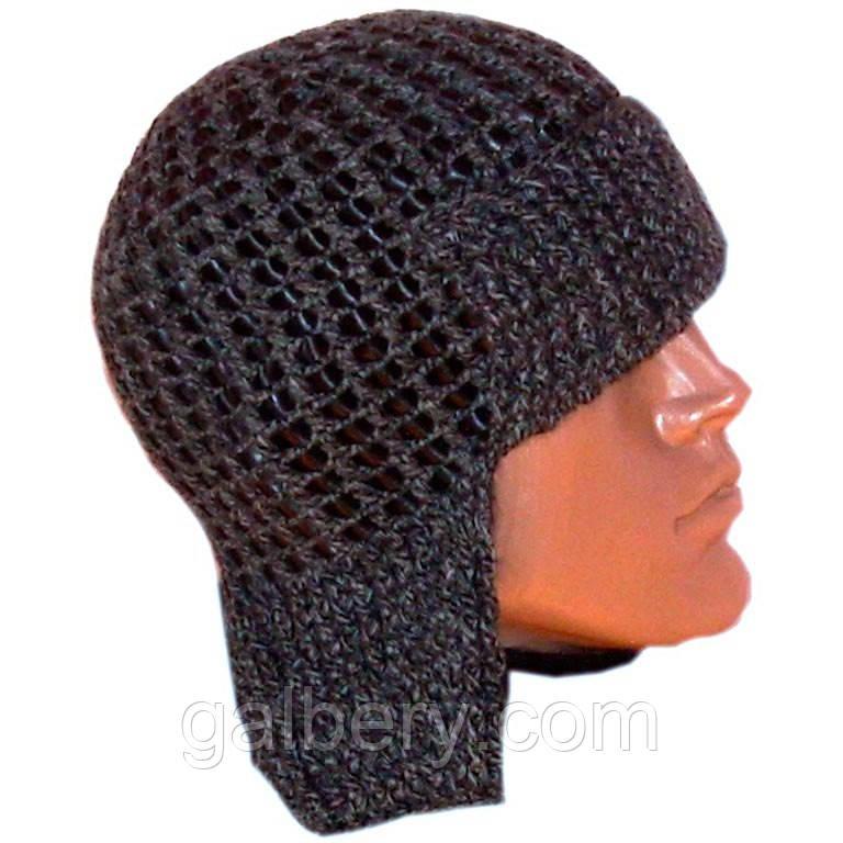 мужская вязаная шапка ушанка с кожаными вставками цена 390 грн