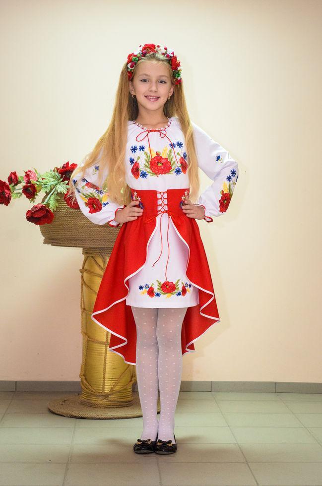 Костюм вышитый Волинські візерунки для  девочки Полевые цветы 140 см