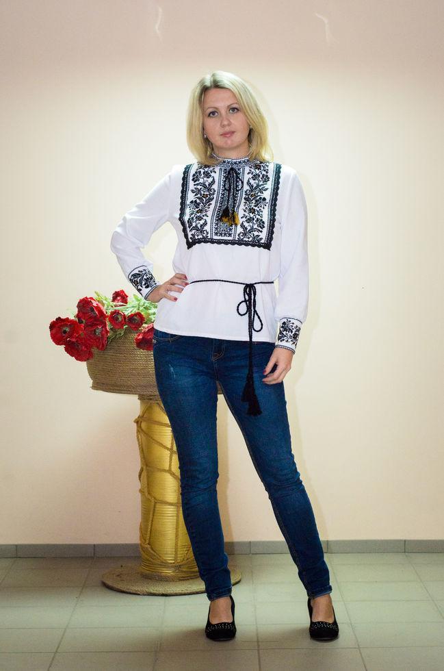 Блуза-туніка Волинські візерунки з довгим рукавом 48 р. біла