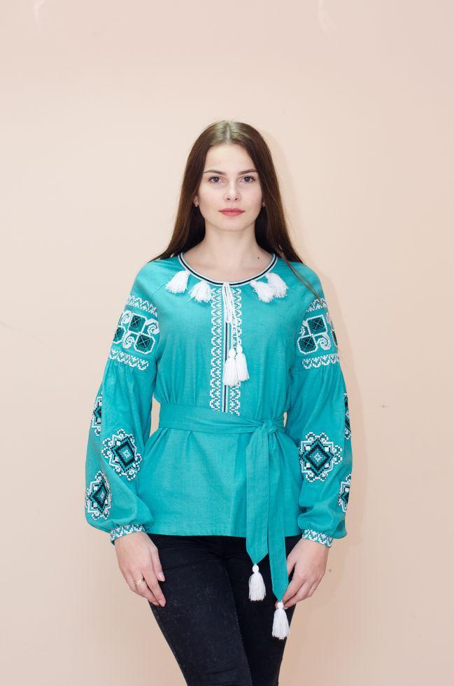 Женская вышитая блуза Волинські візерунки с длинными рукавами 44 р. зеленая