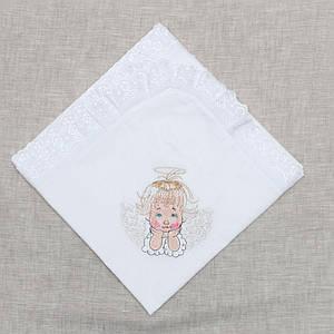 Крыжма детская  Волинські візерунки с ангелочком 115*115   белая