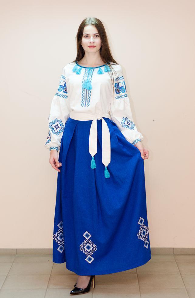 Женский костюм Волинські візерунки с вышивкой  42 р. молочно-синий