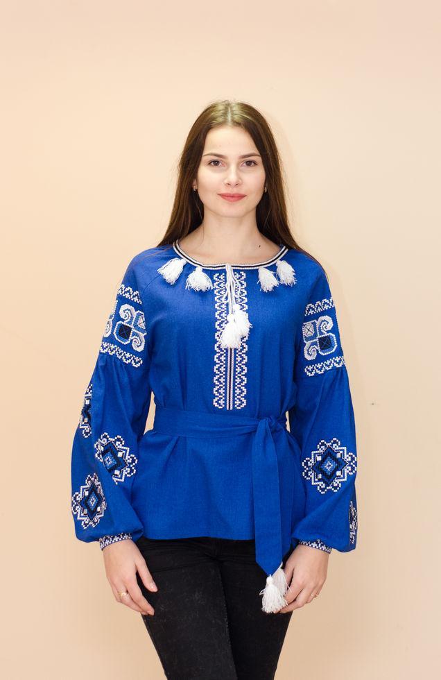 Вышиванка  женская Волинські візерунки с длинными рукавами 42 р. синяя