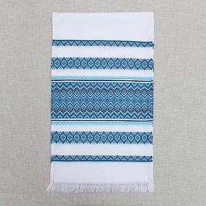 Тканый льняной рушник  Волинські візерунки с голубым орнаментом 240
