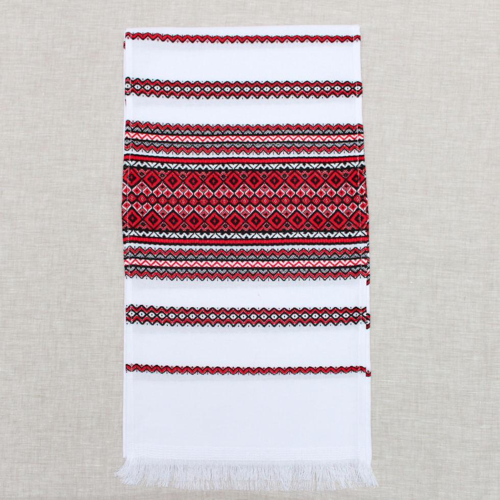 Тканый льняной рушник  Волинські візерунки с красно-черным орнаментом 190 см