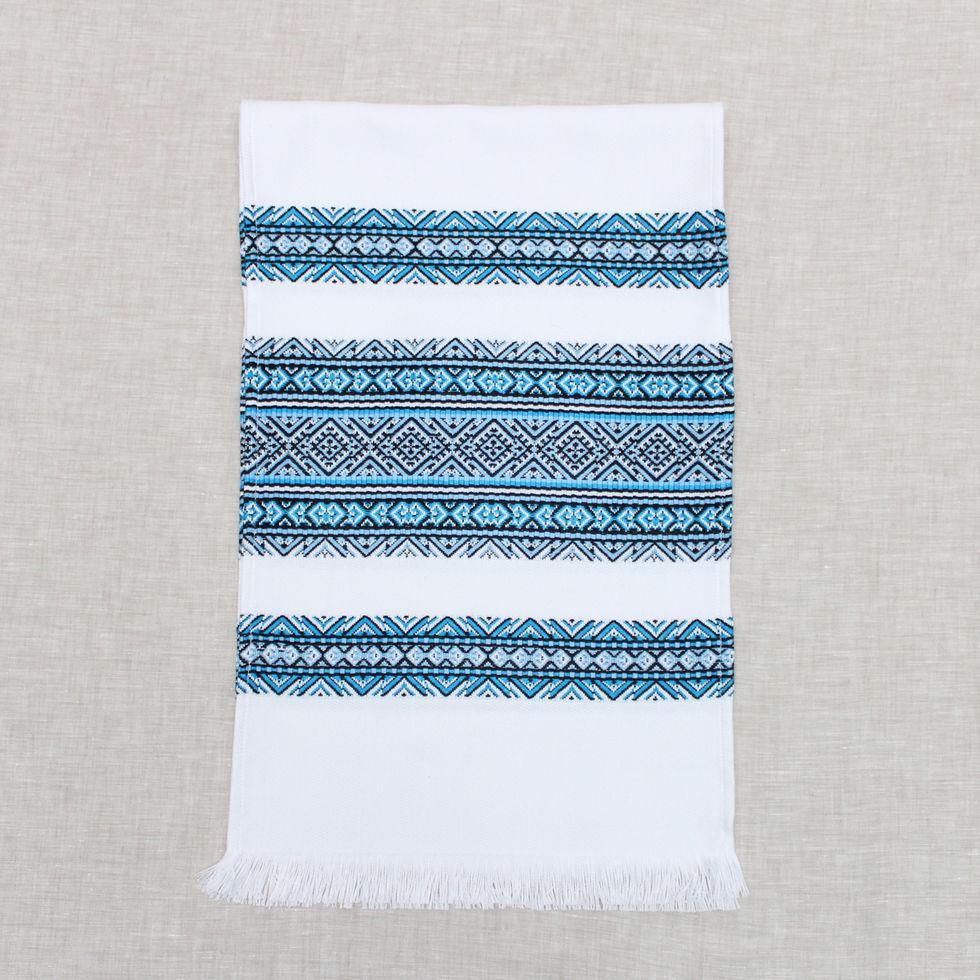 Тканый льняной рушник Волинські візерунки с черно-голубым орнаментом 240 см