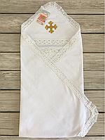 Махровая Крыжма (белая) с золотым крестиком