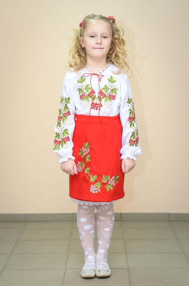 Спідниця Волинські візерунки українська вишита на дівчинку Червона калина 116 см червона