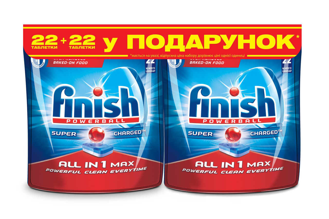 Таблетки для посудомоечных машин FINISH Powerball All in 1 Max 22+22 шт
