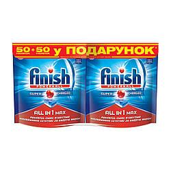 Таблетки для посудомоечных машин FINISH All in 1 50 шт + 50 шт