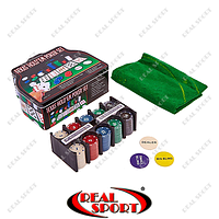 Покерный набор в металлической коробке IG-1103240 (200 фишек, с номиналом, 2 кол. карт, 5 куб, полотно)