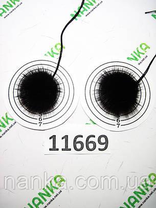 Меховой помпон Норка, Черный шоколад, 4 см, пара 11669, фото 2