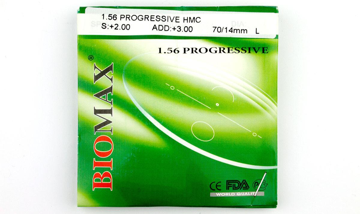 Линзы для очков полимерная прогрессивная Biomax с антибликовым покрытием. Индекс 1,56