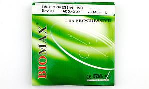 Лінзи для окулярів полімерна прогресивна Biomax з антибліковим покриттям. Індекс 1,56