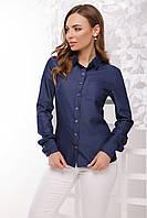 Классическая женская синяя рубашка с одним кармашком длинный рукав джинс
