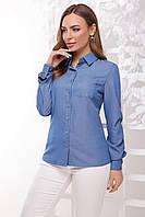 Классическая женская голубая рубашка с одним кармашком длинный рукав светлый джинс