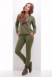 Модный женский костюм свитшот и штаны с нашивкой из пайеток Звезда оливковый