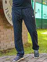 Мужские простые спортивные штаны на резинке со шнурком меланж черные
