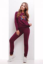 Модный женский костюм свитшот и штаны с нашивкой из пайеток Звезда баклажановый