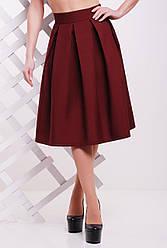 Женская однотонная пышная юбка миди со складками бордовая