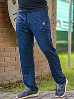 Мужские простые спортивные штаны на резинке со шнурком меланж темно-синие