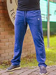 Мужские простые спортивные штаны на резинке со шнурком меланж синие