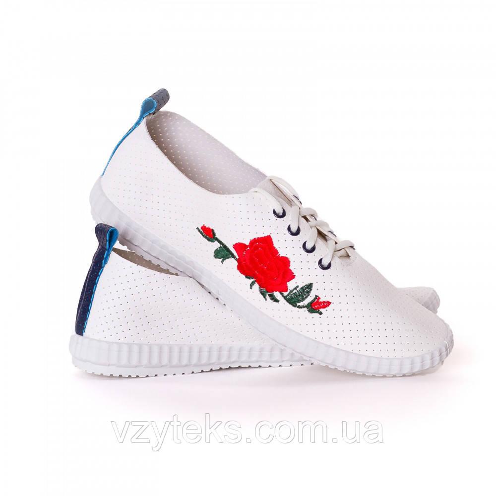 661014e4732a Кроссовки женские летние белые кожзам с вышивкой Гипанис - Центр обуви  Взутекс в Хмельницком