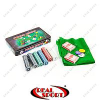 Покерный набор в металлической коробке IG-4394 (300 фишек, с номиналом, 2 кол. карт, полотно)